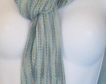 shoreside -- hand woven cotton scarf.