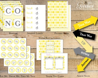Alice In Wonderland Printable Party Package - Yellow