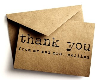 Thank you Kraft card - Kraft - Simple wedding thank you card - Handmade paper goods - Kraft card - Thank you - Paper goods - Sample