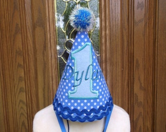 Boys Birthday Hat - Blue With White Polka Dots -Free Personalization