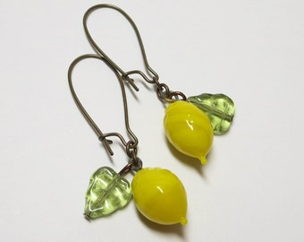 Lemon Earrings Dangles Fruit Earrings Fruit Ear Dangles Lemon Yellow Spring Summer Victorian Shabby Chic Retro