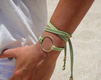 BOHO Large Gold Infinity Circle Double Wrap Suede Bracelet / Necklace