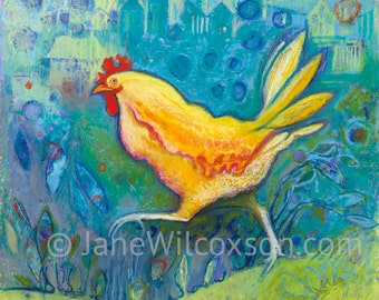 Chicken Art Print |  Suburban Bob a Crazy and Whimsical Chicken | A splash of color and fun for your home or kitchen