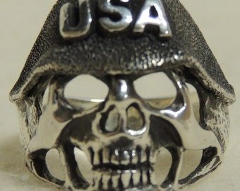 Skull USA Biker Ring