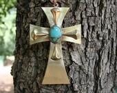 Turquoise brass Cross, Brass  Cross, Wall Hanging Cross, , Home Decor