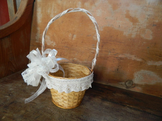 How To Make A Lace Flower Girl Basket : Flower girl basket lace and pearls by weddingsbykimberly