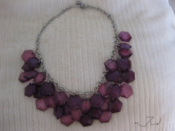 Purple Crystal Beads Statement Bib Necklace