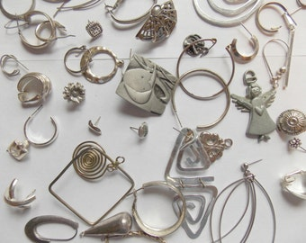Vintage Lot of Jewelry for Repurposing  in Silver Tones