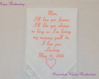 Mom of the bride Gifts Embroidered Personalized Wedding Handkerchiefs for Mother of the Bride  Napa Embroidery