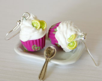 Kawaii earrings cupcake miniature Polymer clay