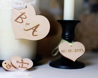 Engraved Wooden Hearts For DIY Weddings