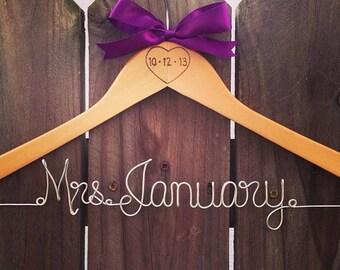 RUSTIC custom Wedding Hanger with bow