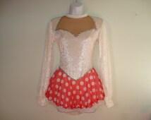 CLEARANCE SALE-Figure Skating Dress, White Crushed Velvet, Sweetheart Neckline, Long Puffy Sleeves, Red & White Dot Mesh Top Skirt