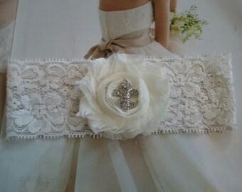 Wedding Toss Garter - Ivory Flower with Crystal Rhinestone on Ivory Lace - Style TG108