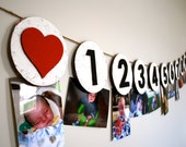 1st Year 12 month Birthday Picture Bunting, Month by Month I am One Prop Banner made from Recycled Cardboard Personalized Party Decoration