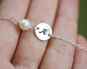Initial Necklace, Tiny Initial Charm and pearl Sterling silver Necklace,daily jewelry,Bridal Jewelry, Bridesmaid gifts