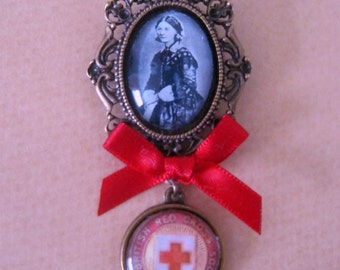 Vintage Florence Nightingale / Red Cross / Nursing Brooch Handmade Unique