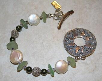 Sea Green Glass Sterling Bracelet