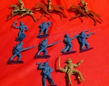 vintage lot toy military CAVALRY military soldiers INDIANS HORSES