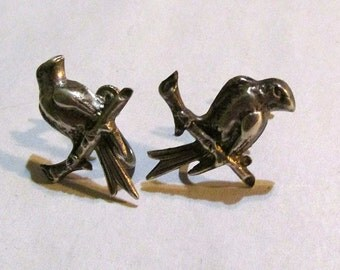 STERLING silver  EARRINGS-BIRDS on a branch screw back  Vintage mid century antique
