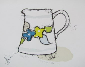 Vintage jug in blue - Hand Printed, original screenprint and monoprint