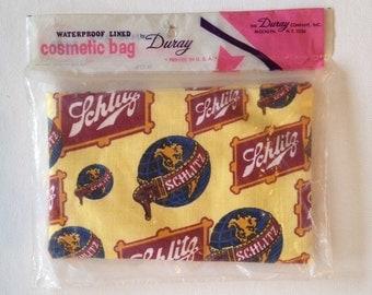 Vintage Makeup Bag Schlitz Beer Waterproof Cosmetics Bag by Duray NOS c.1960s