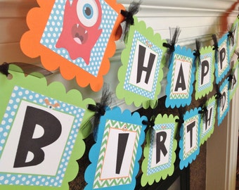 Little Monster Birthday Banner - Lime Green Chevron Blue Polka Dots with orange and Black accents - Party Pack Specials Available
