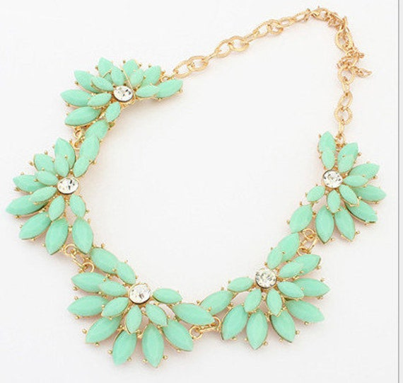Fashion  blue bib cluster necklace statement necklace XL015