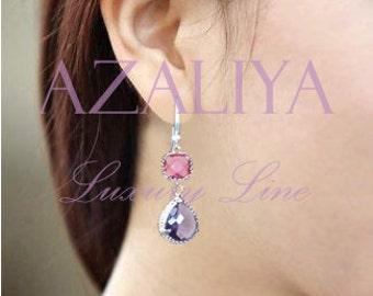 Pink and Purple Chandeliers. Strawberry Ice Earrings. Pink Silver. Zircon. Azaliya Luxury Line. Bridal earrings, Bridesmaid earrings