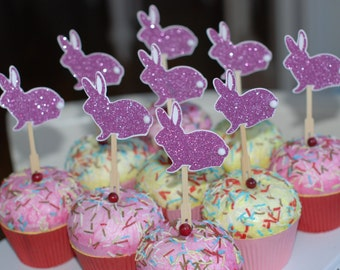 Glittered Easter bunny cupcake toppers. set of 12. More colors available