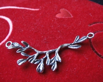 925 sterling silver oxidized tree Branch Leaf Connector, 40mm nature woodland charm, silver branch connector