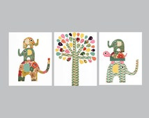 Colorful Elephant and Turtle Nursery Artwork Print // Baby Room Decoration // Kids Room Decoration // Gifts Under 50