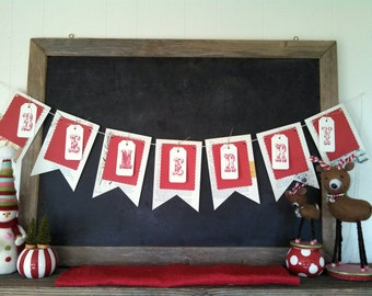 Be Merry Christmas Decoration Banner Paper Bunting Flag Vintage Book Pages Hand Stamped Pennant Hipster Hostess Gift