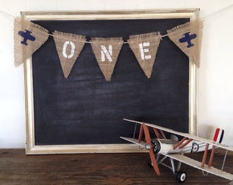 One Burlap Banner Baby's First Birthday Nursery Sign Flag Pennant Bunting Rustic Country Kid Babies Decor