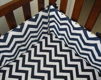 Crib Bumper navy blue -white chevron.