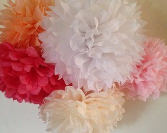 CUSTOM COLORS / 30 tissue paper pom poms / wedding decorations, birthday decorations, reception, nursery, backdrop, photo prop, poms