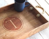 Custom Personalized Circle With Letter Monogram Design Wood Serving Tray - Engraved Letter and Rustic Rope Handles