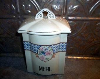 Vintage Collectible German Porcelain Canister MEHL