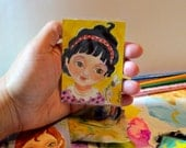 ACEO Girl Flowers Loves me Loves me not yellow mini painting atc Original