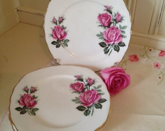 Vintage Royal Vale Tea Plates. Set of six. Pink Roses.