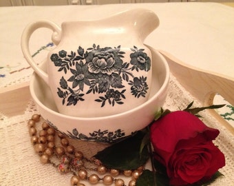 Vintage Wedgwood Tunstall milk jug and sugar bowl made from ironstone 1980's