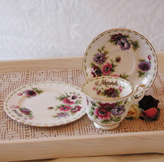 Vintage Royal Albert Flower Of The Month For March Anemones
