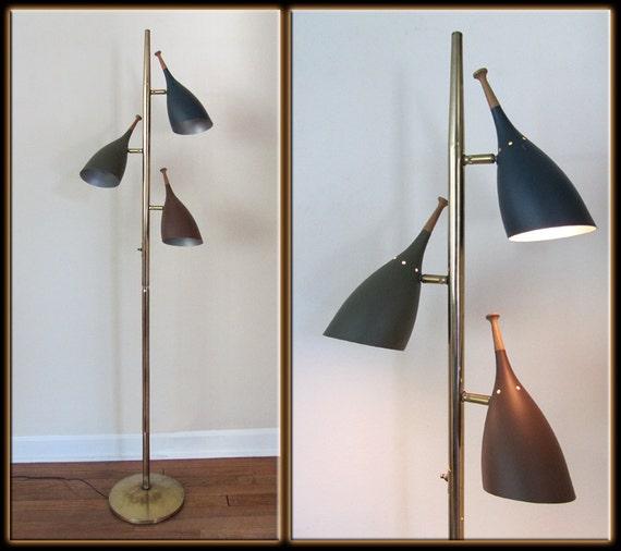 Vtg Brass Floor Lamp: Vtg 60s Mid Century Modern Stiffel Style 3 Light Colored