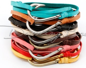 Adjustable Nautical Silver Fish Hook Bracelet on Genuine Leather