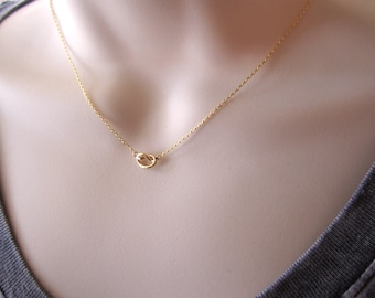 Tiny gold knot necklace...simple every minimalist handmade jewelry, Tie the Knot bridal jewelry, wedding, bridesmaid gift, friendship