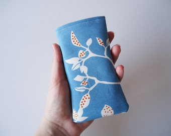 Blue iPhone 5 and 5S sleeve, blue phone sleeve with leafy print