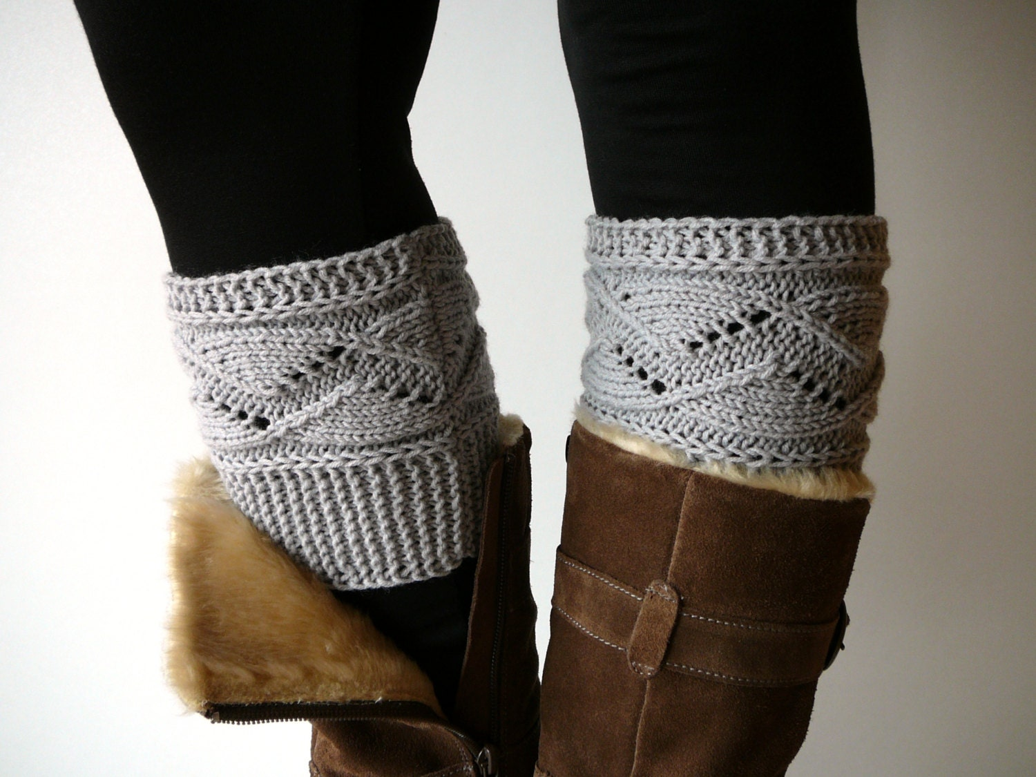 Light grey knit boot socks boot cuffs boot toppers leg