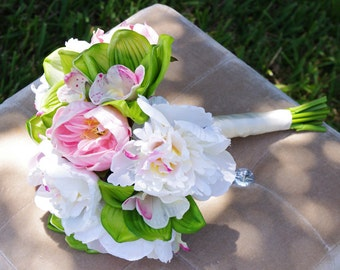 Silk Wedding Bouquet Pink Peonies and Green Cymbidiums Natural Touch Flowers Bridal Bouquet