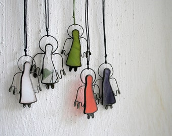 Angel ornaments, Holiday decor, Custom colors, five little stained glass angels suncratchers, Christmas Gift