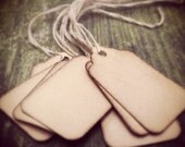 """50 Stained Scalloped Hang Tags, sized 1 3/4"""" x 1 3/32"""", Vintage, tags, Antique tags, Primitive tags"""